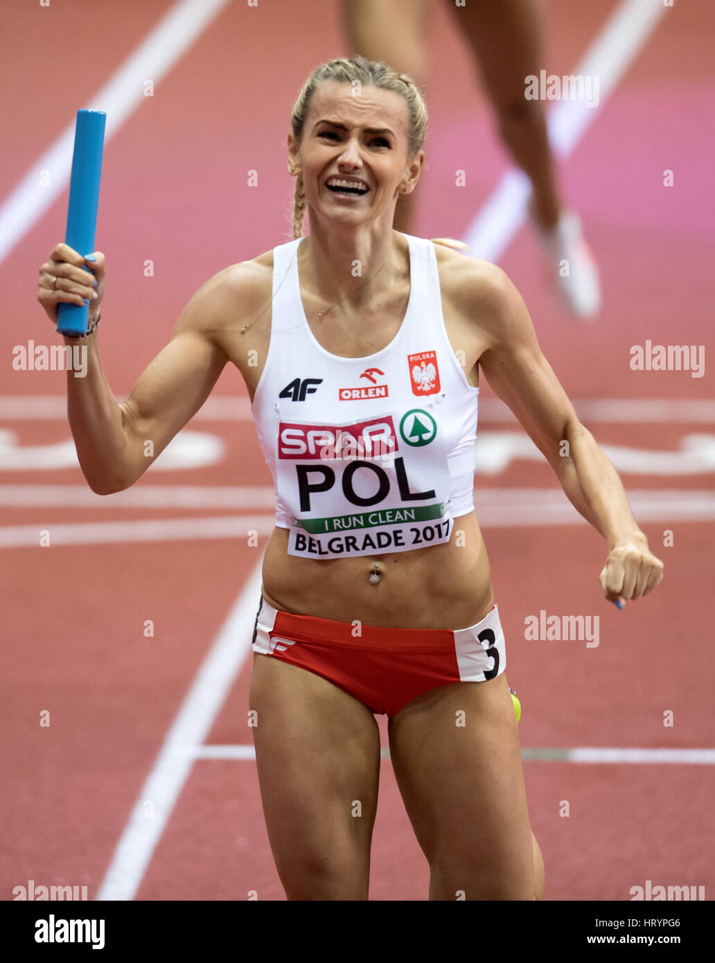 Belgrade, Serbia. 05th Mar, 2017. Justyna Swiety from Poland at the finish line in the 4x400m relay event at the - Stock Image