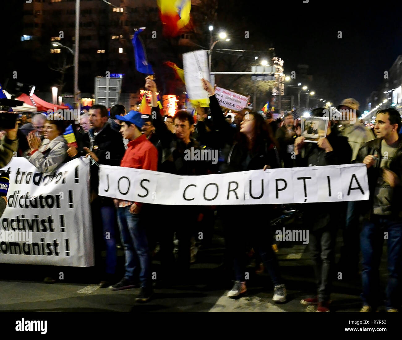 Bucharest, Romania 05th Mar, 2017 BUCHAREST, ROMANIA - 5 MARCH 2017: A fifth Sunday of anti-government protests - Stock Image