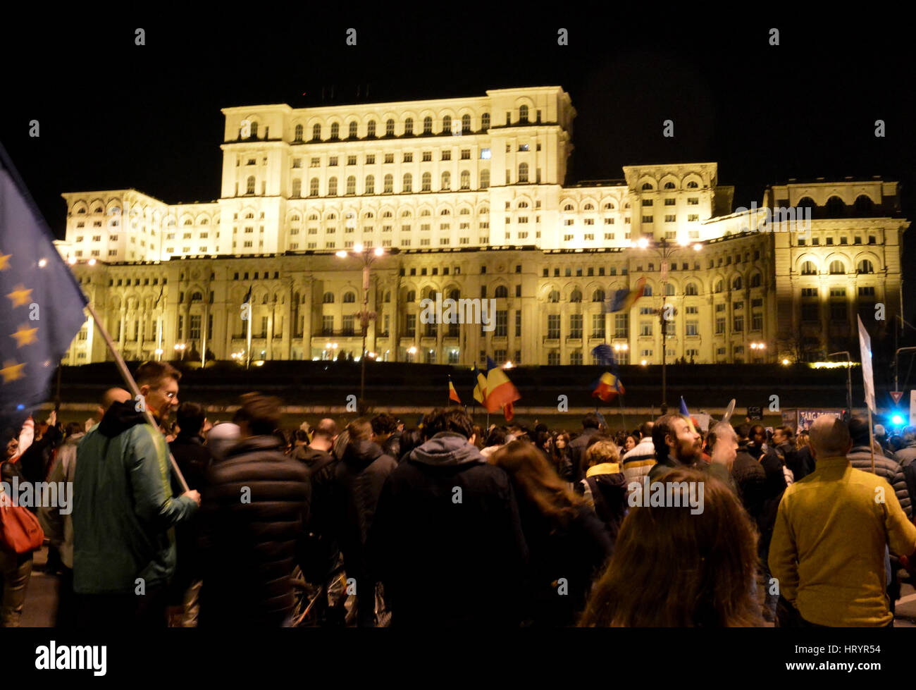 Bucharest, Romania 05th Mar, 2017 A fifth Sunday of anti-government protests saw 7000 people march through the streets - Stock Image