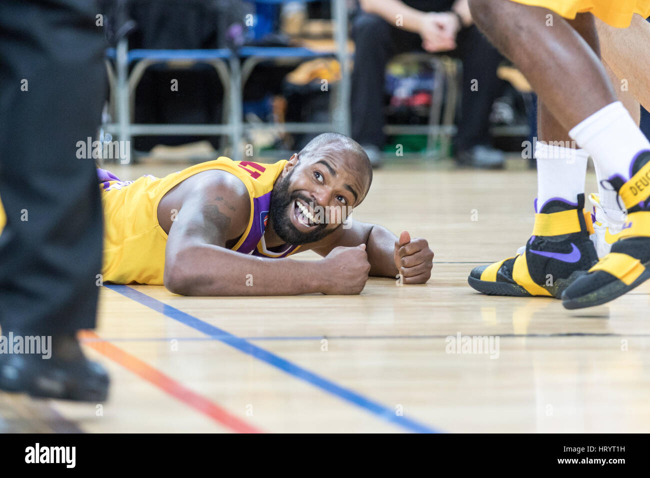 London, UK. 5th March, 2017. Leeds Force defeat  London Lions  92-81  at Copper box, Olympic Park, London. Lions' - Stock Image
