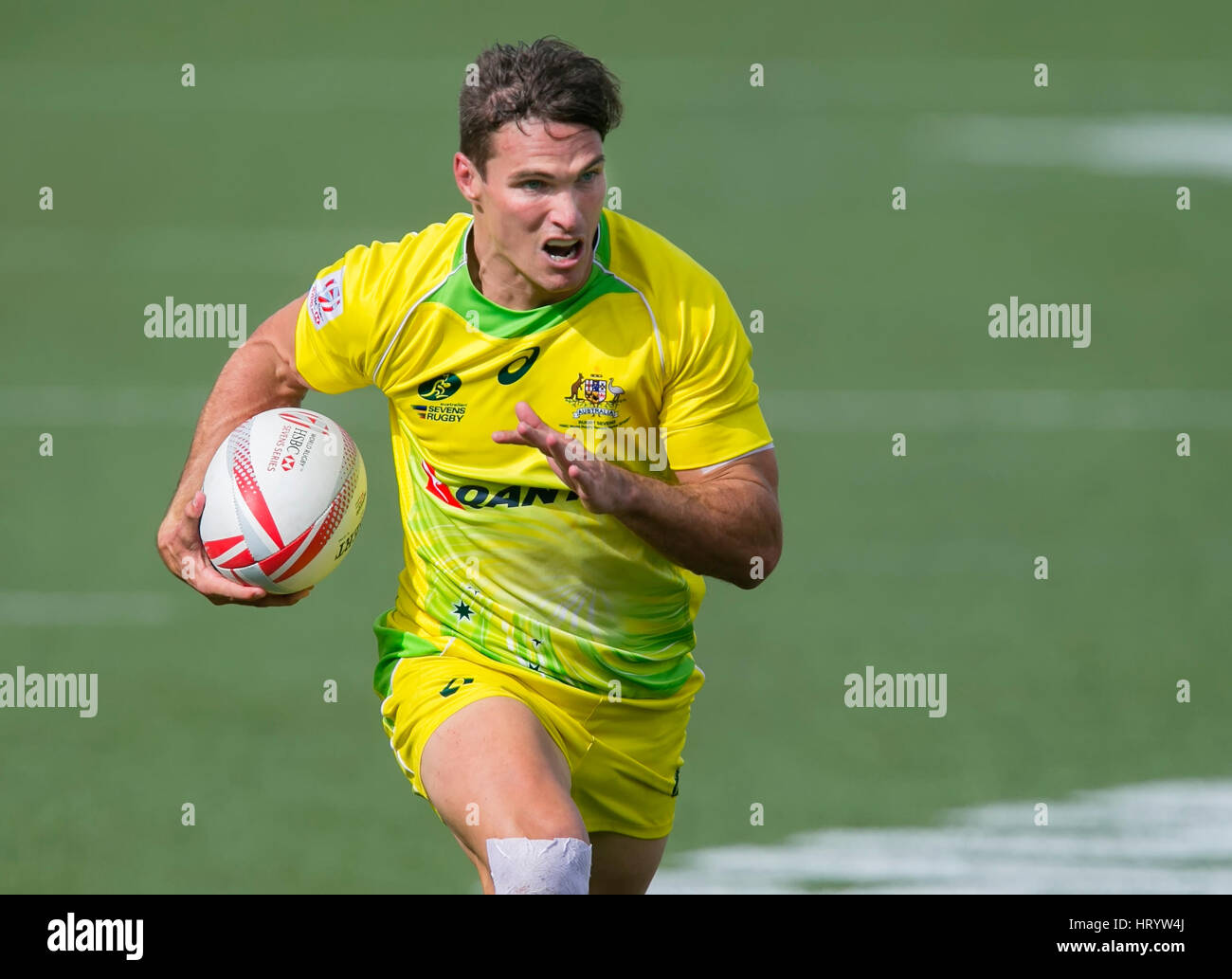 Las Vegas, NV, USA. 4th Mar, 2017. Ed Jenkins #9 of Australia runs in for a score during Pool D play of the rugby Stock Photo