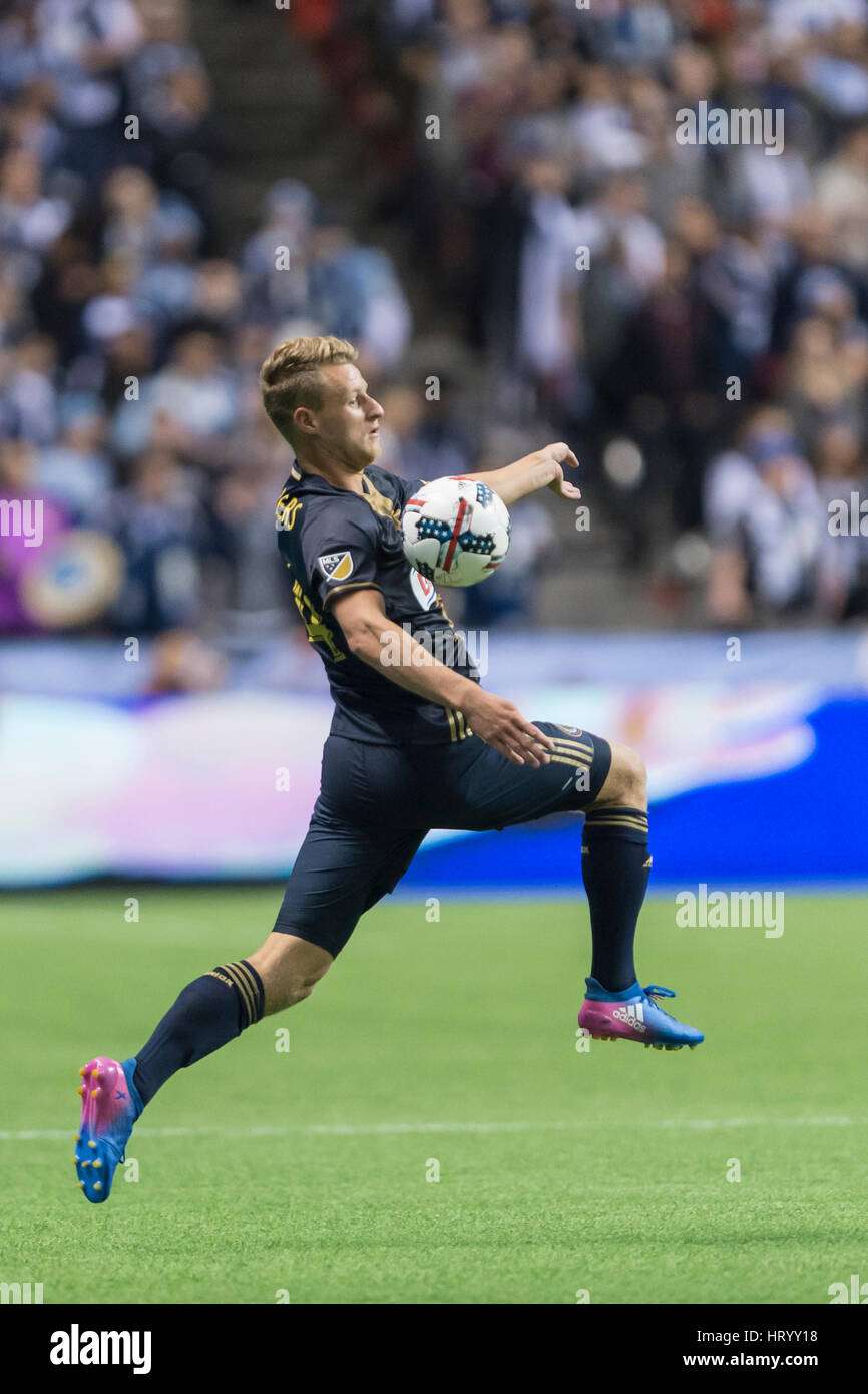 Vancouver, Canada. 5 March, 2017. Fabian Herbers (14) of Philadelphia Union  chest trapping the ball.Vancouver Whitecaps - Stock Image