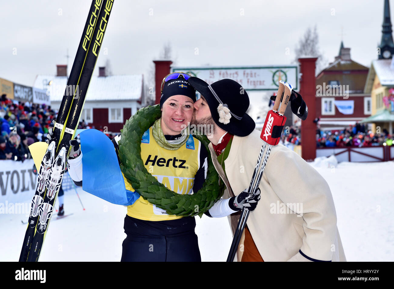 Stockholm. 5th Mar, 2017. Sweden's Britta Johansson Norgren (L) poses for photos after winning the women's - Stock Image