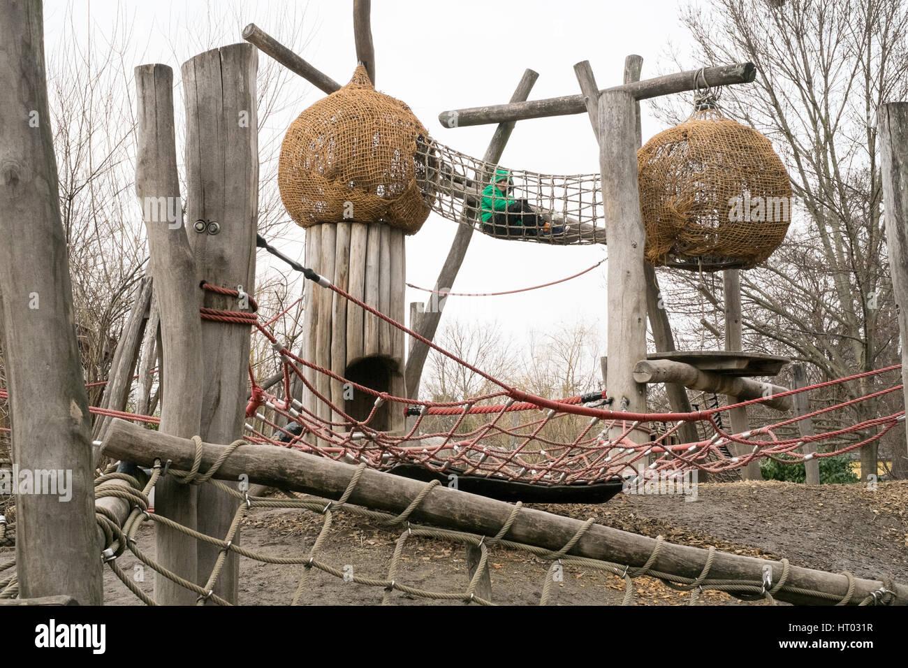 Children's playground climbing frame at Schönbrunn Zoo,Vienna, Austria, Europe. Stock Photo