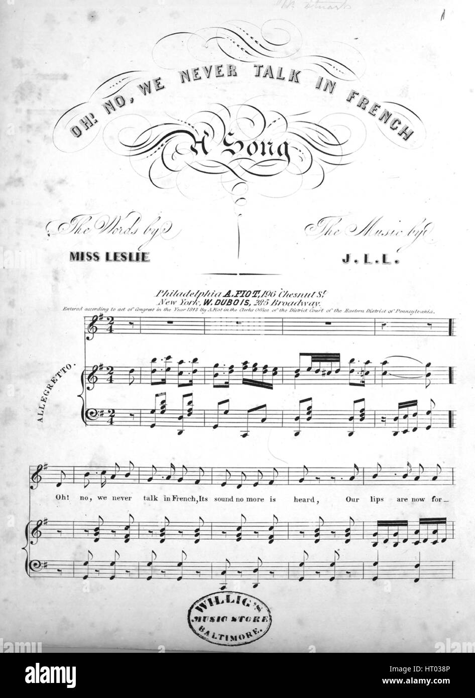 Sheet music cover image of the song 'Oh! No, We Never Talk