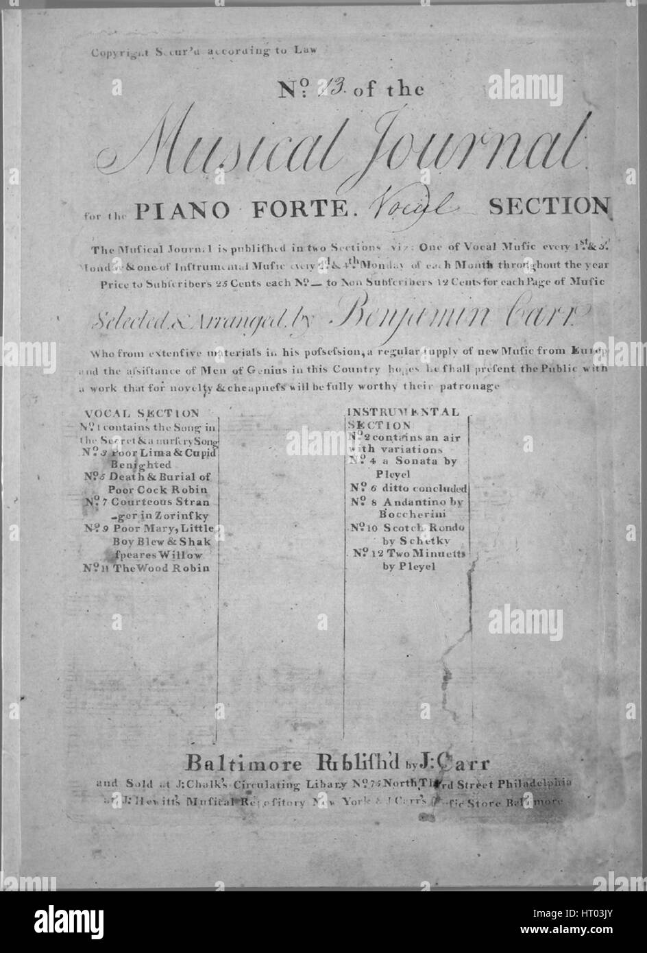 Sheet music cover image of the song 'Two Original Russian Airs Adapted to English Words', with original - Stock Image