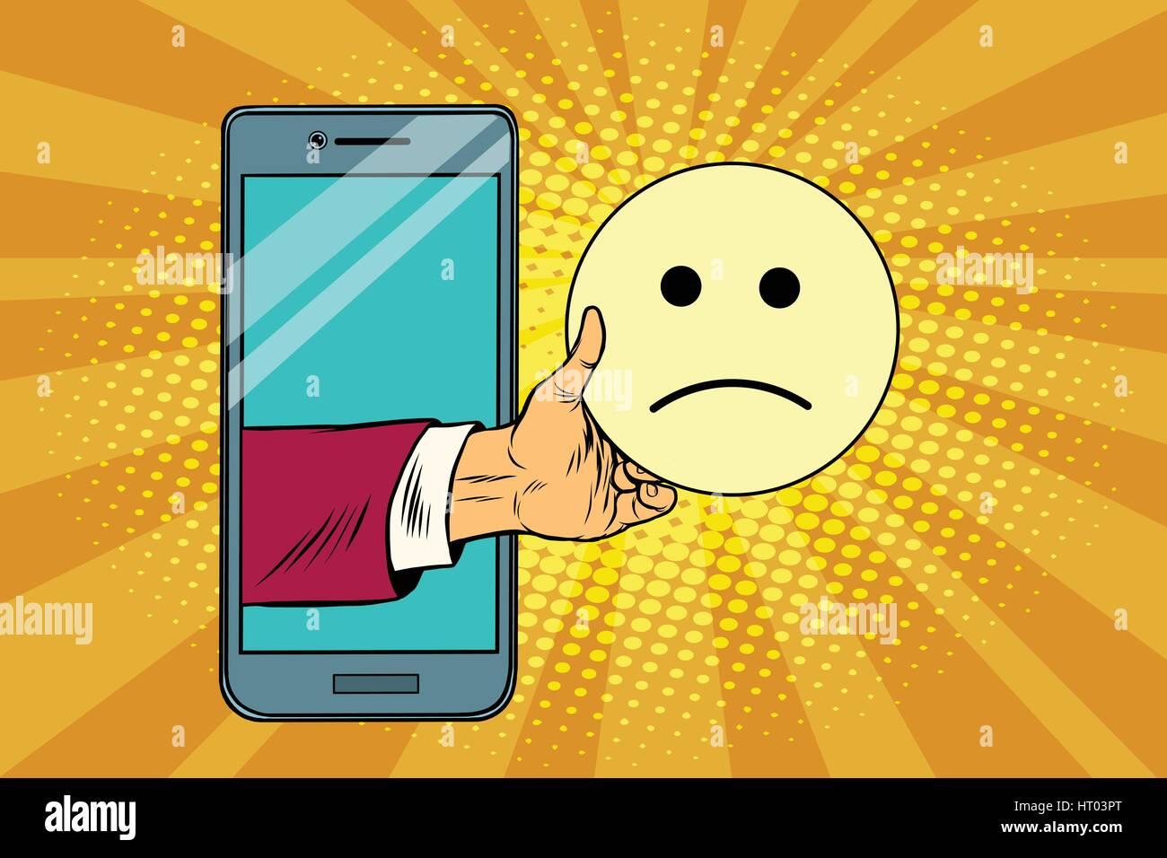 sadness resentment emoji emoticons in smartphone - Stock Image