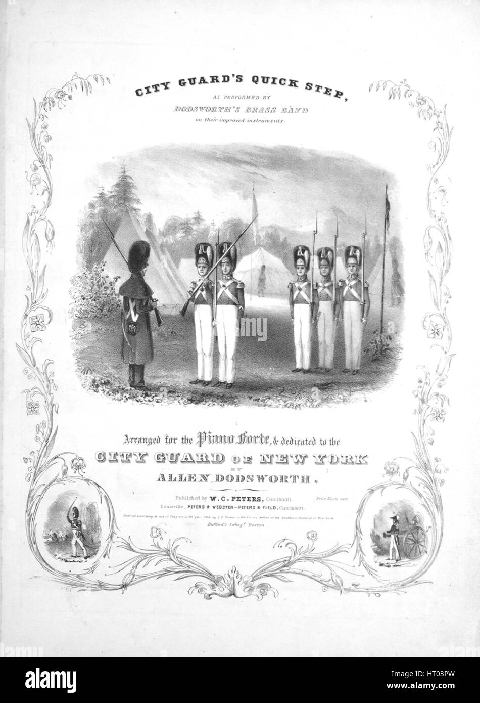 Sheet music cover image of the song 'City Guard's Quick Step', with original authorship notes reading - Stock Image