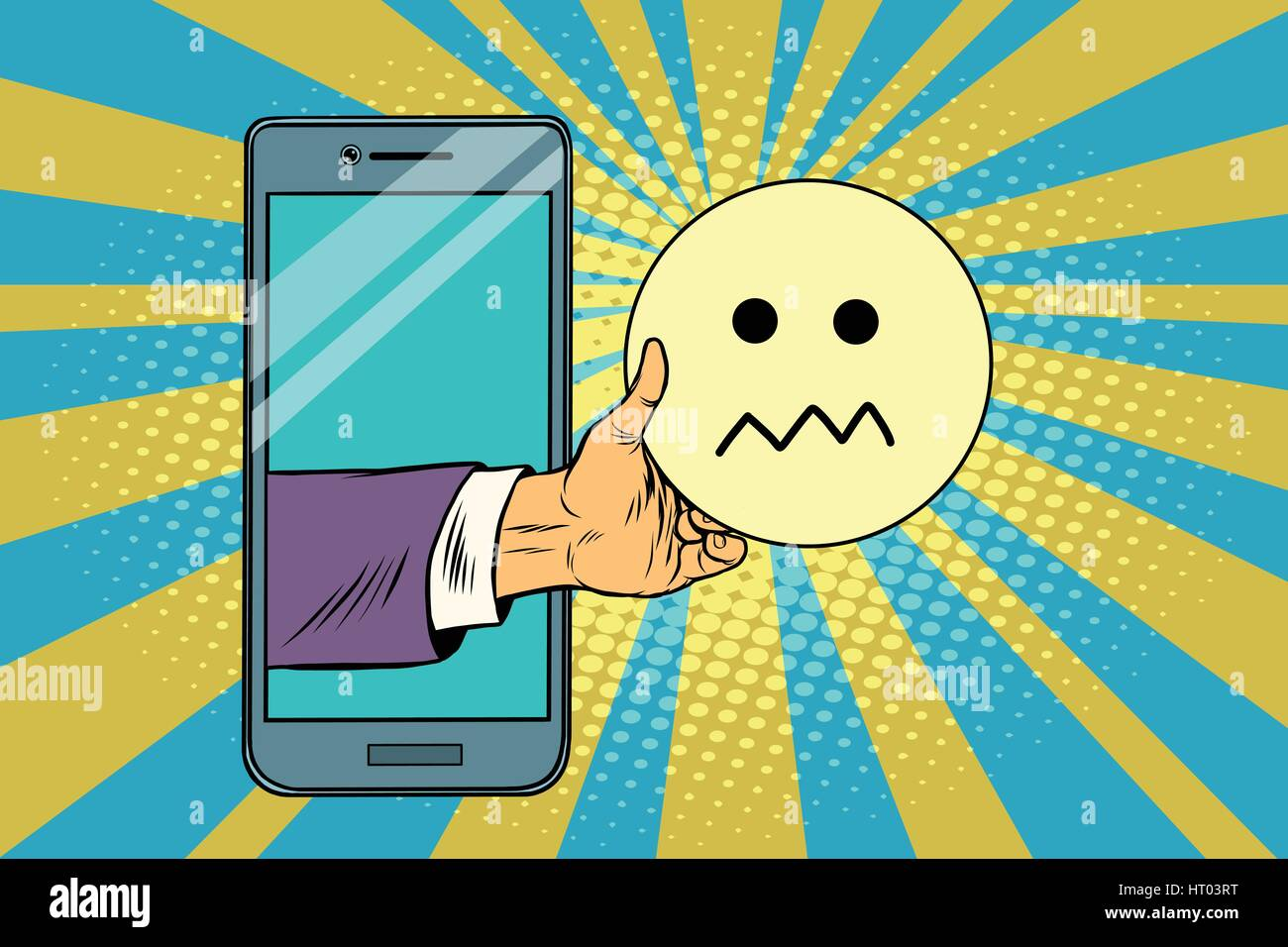 skepticism emoji emoticons in smartphone - Stock Image
