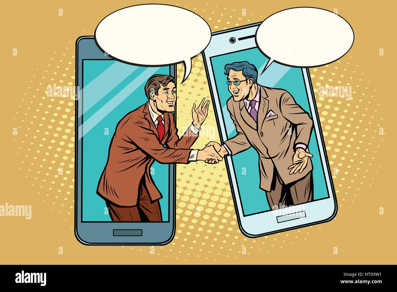 Online the talks of the two businessmen - Stock Vector