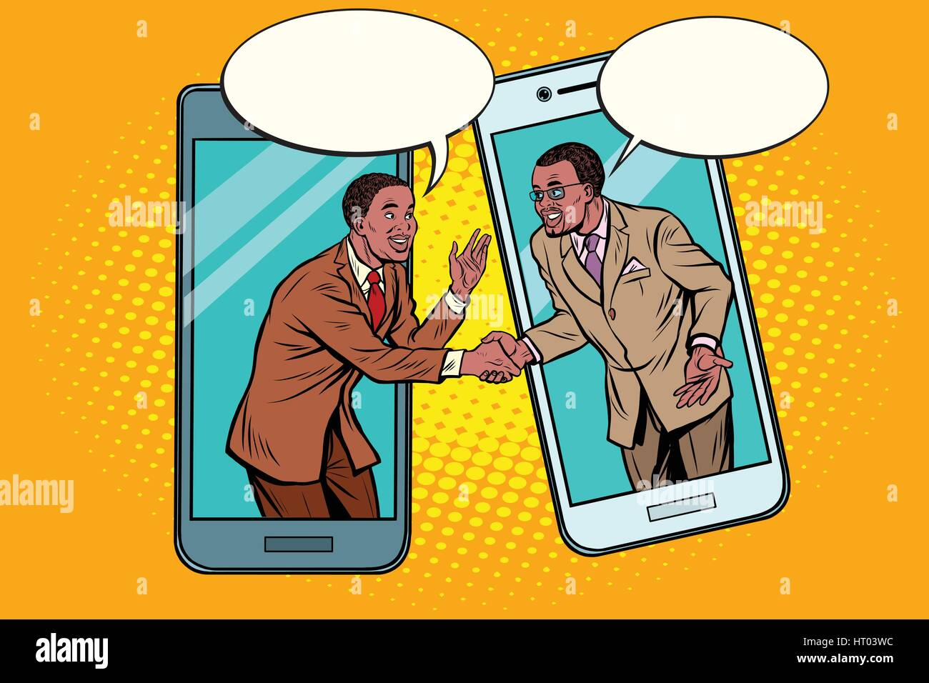 Online the talks of the two businessmen Stock Vector