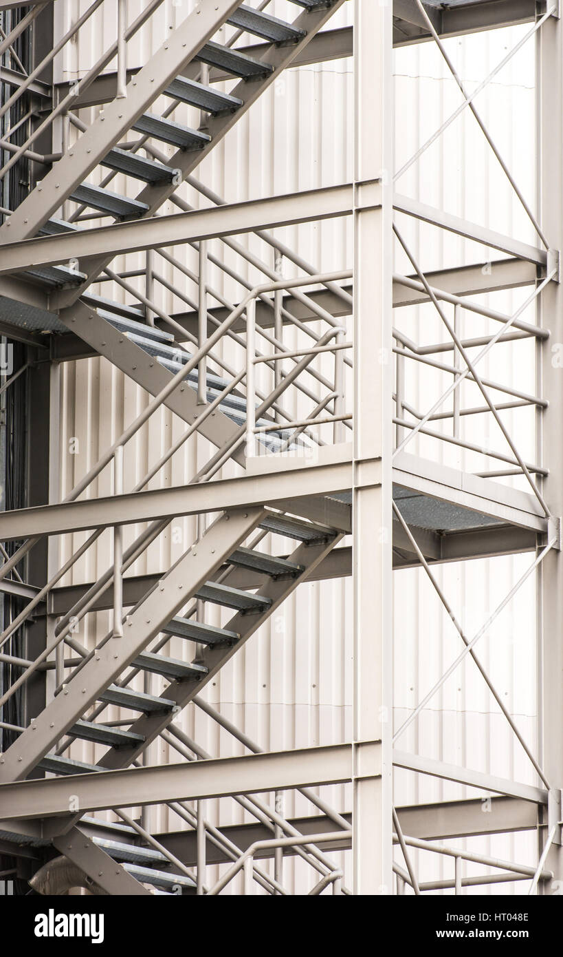Escape Route At A Industrial Building Via Exterior Metal Staircase   Stock  Image