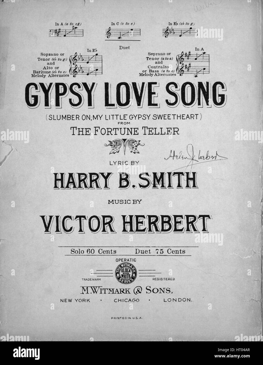 Sheet music cover image of the song 'Gipsy Love Song From