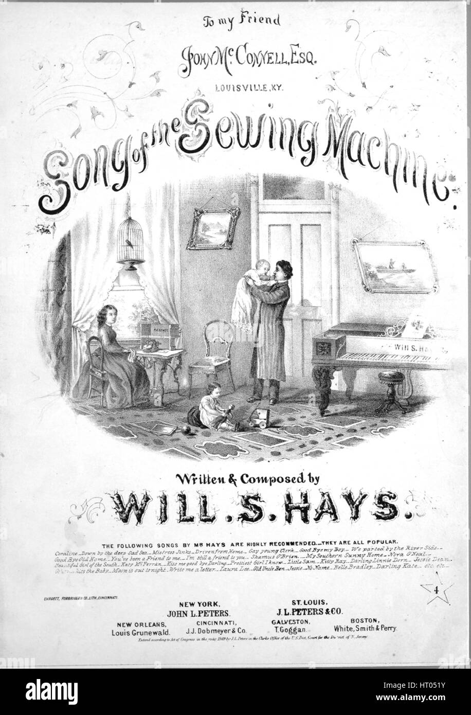 Sheet music cover image of the song 'Song of the Sewing Machine