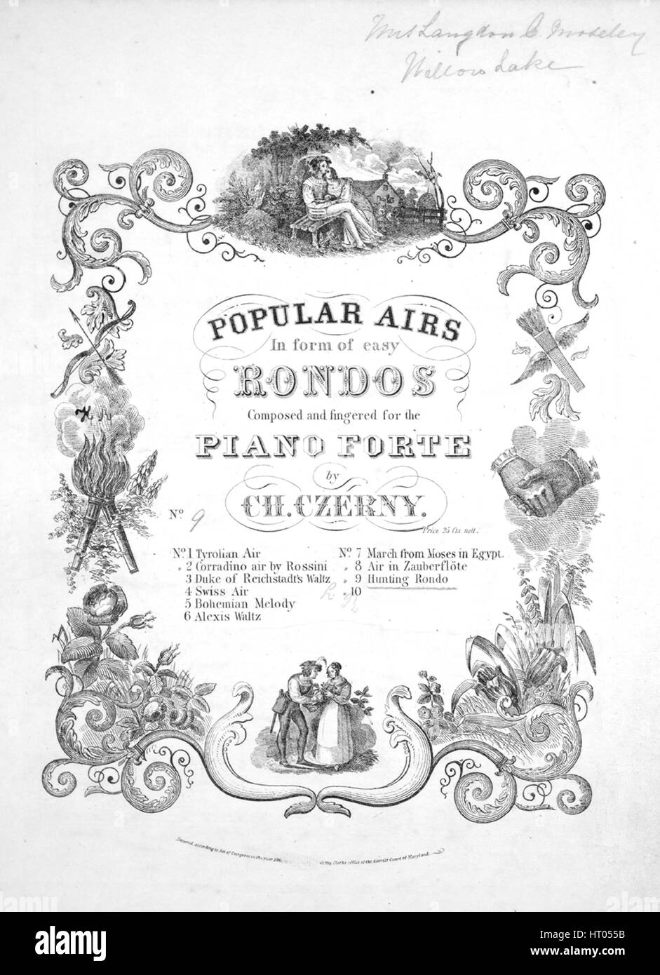 Sheet music cover image of the song 'Hunting Rondo Popular Airs in Form of Easy Rondos', with original authorship - Stock Image