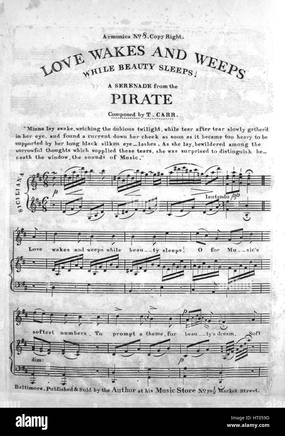 Sheet music cover image of the song 'Love Wakes and Weeps While Beauty Sleeps A Serenade from the Pirate Armonica - Stock Image