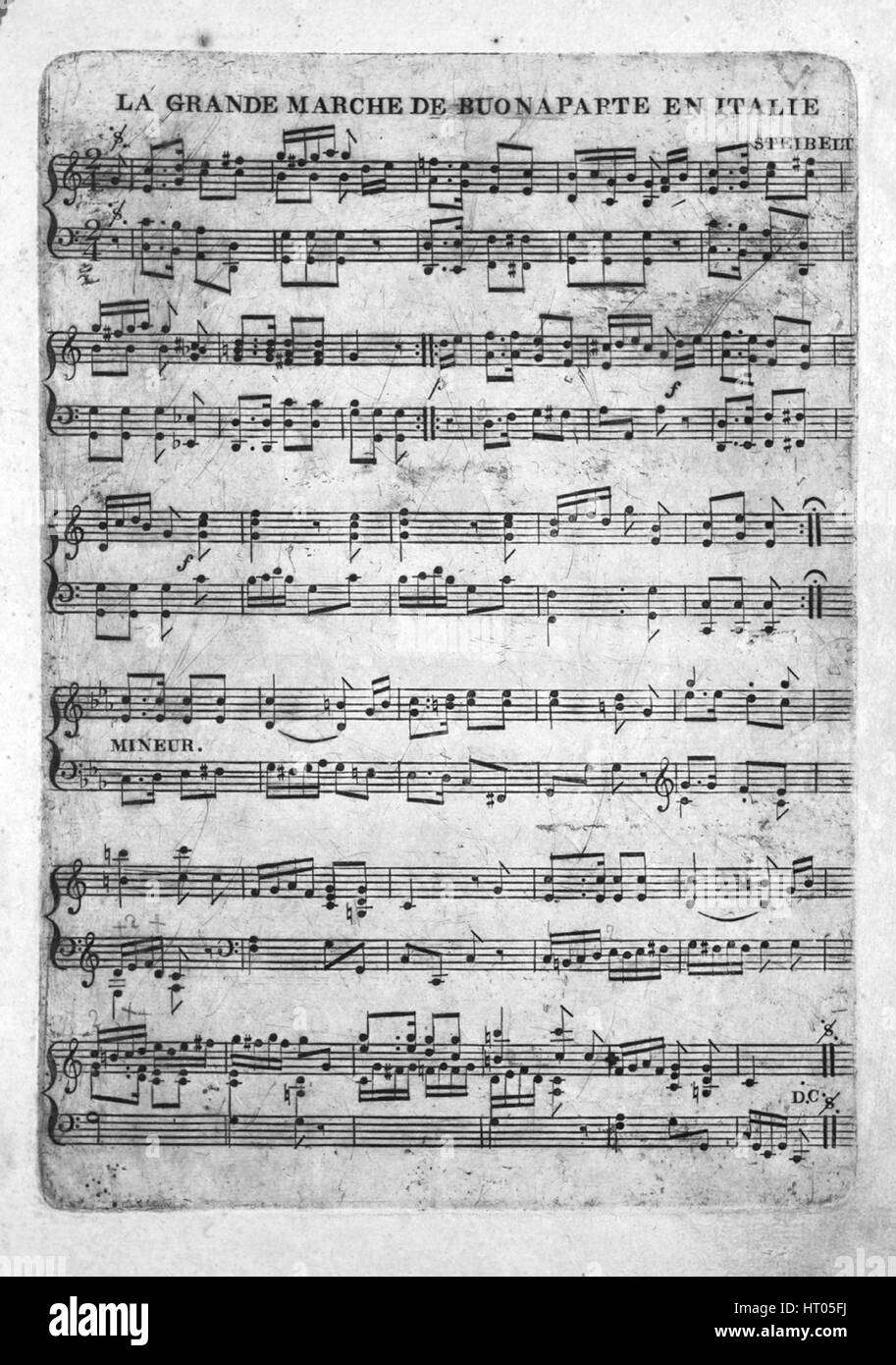 Sheet music cover image of the song 'La Grande Marche de Buonaparte en Italie', with original authorship notes reading Stock Photo