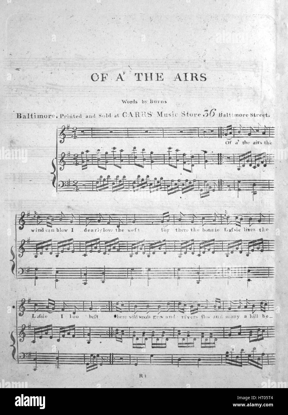 Sheet music cover image of the song 'Of A' The Airs', with original authorship notes reading 'Words - Stock Image