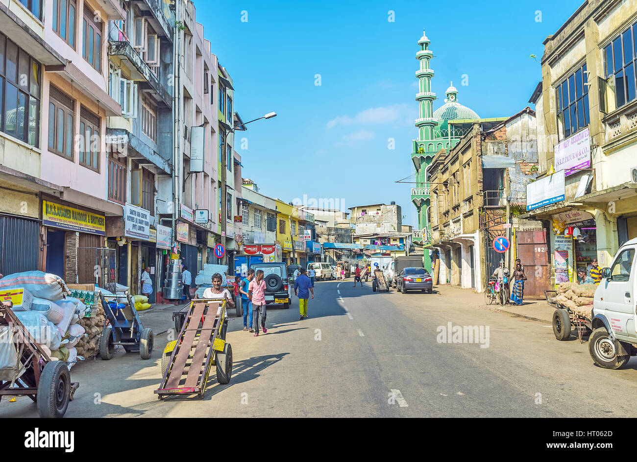 COLOMBO, SRI LANKA - DECEMBER 6, 2016: The former Wolfendhal street of Pettah, occupied with stores and warehouses, Stock Photo