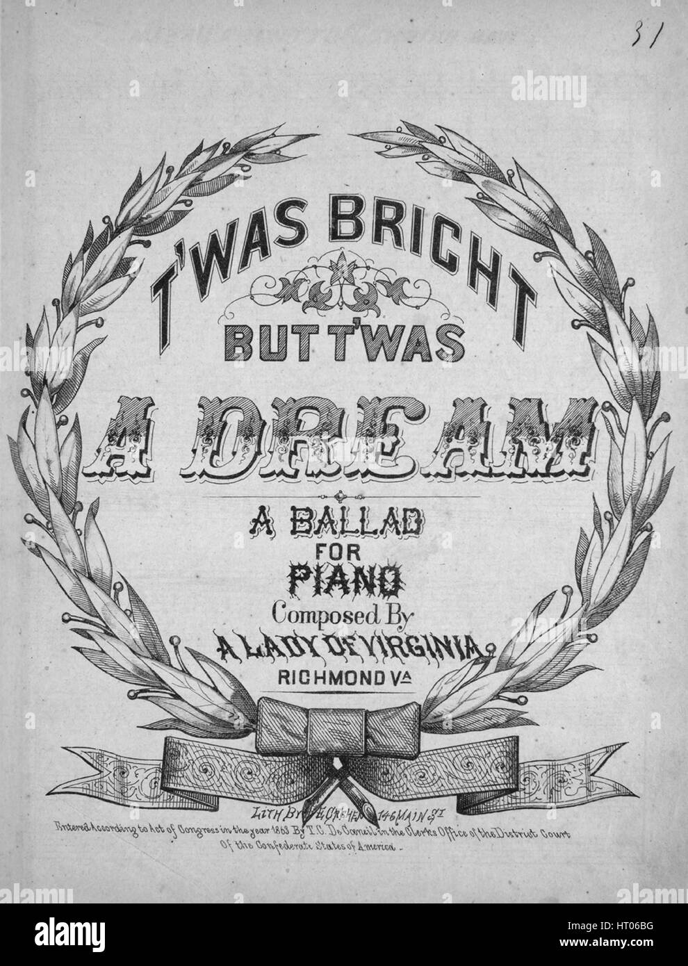 5c1478c21f04 Sheet music cover image of the song 'T'was Bright, But T'