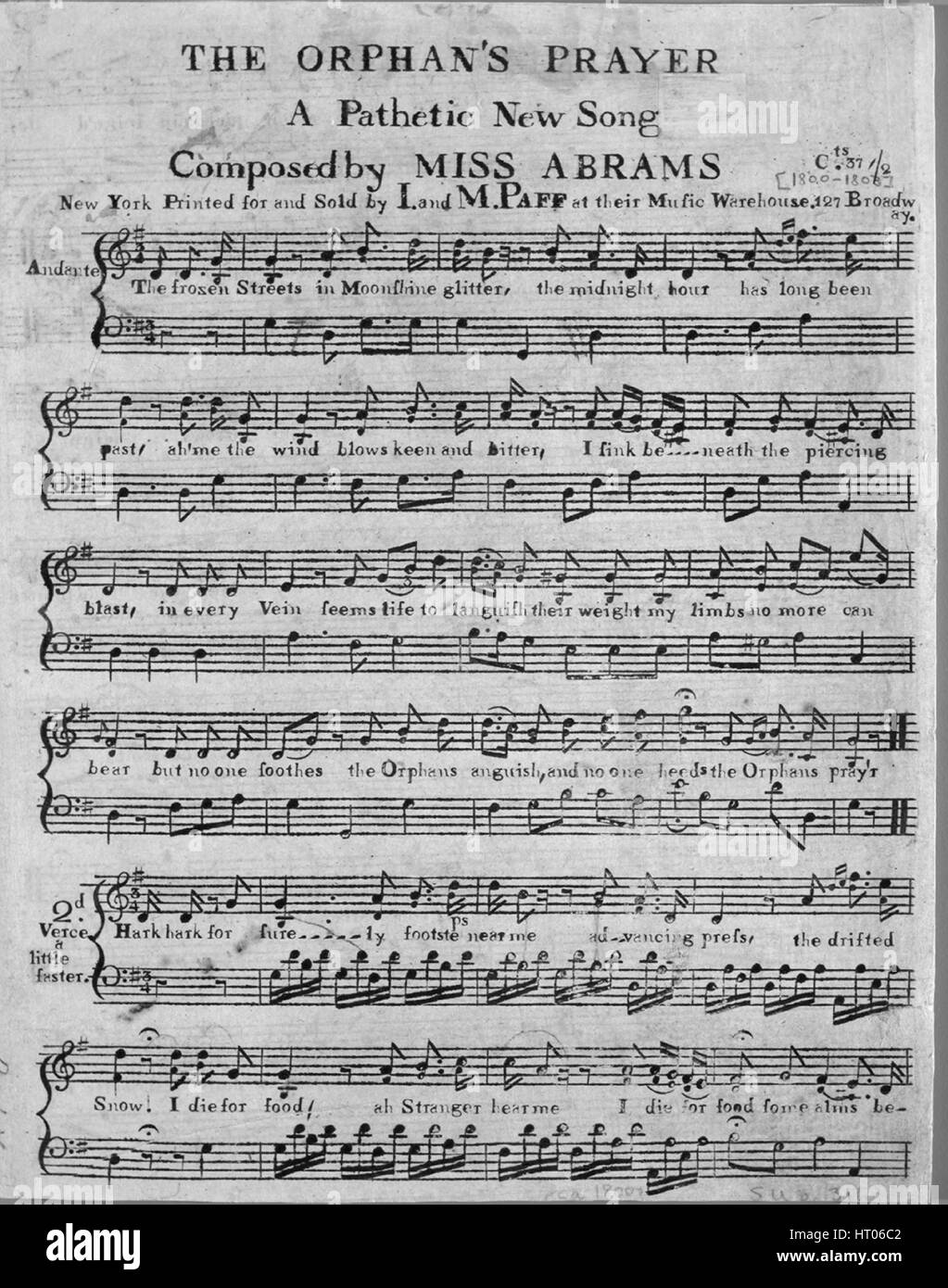 Sheet music cover image of the song 'The Orphan's Prayer A Pathetic New Song', with original authorship - Stock Image