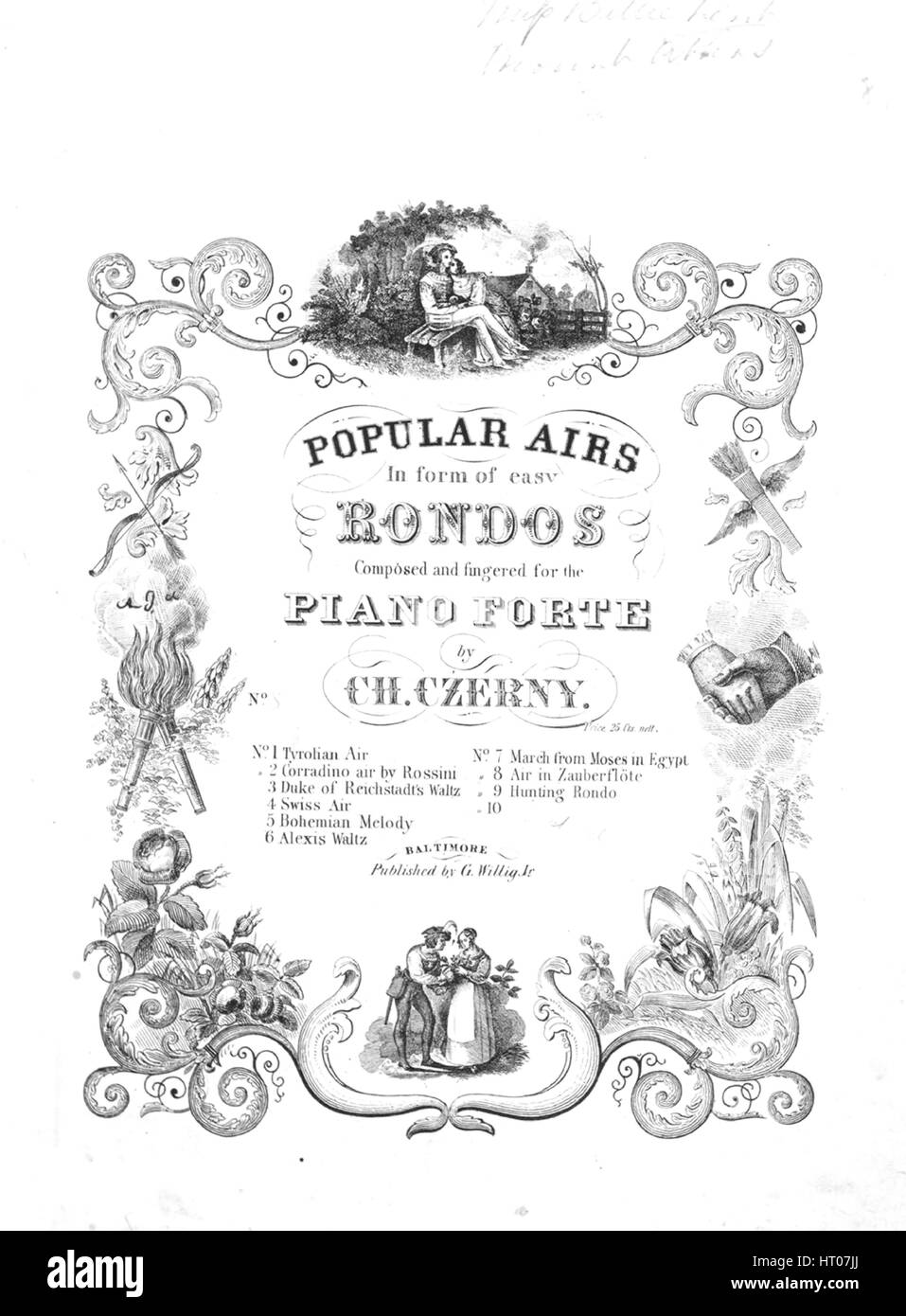 Sheet music cover image of the song 'Air in Mozart's Zauberflote O Dolce Concento No 8 Series title  Popular - Stock Image