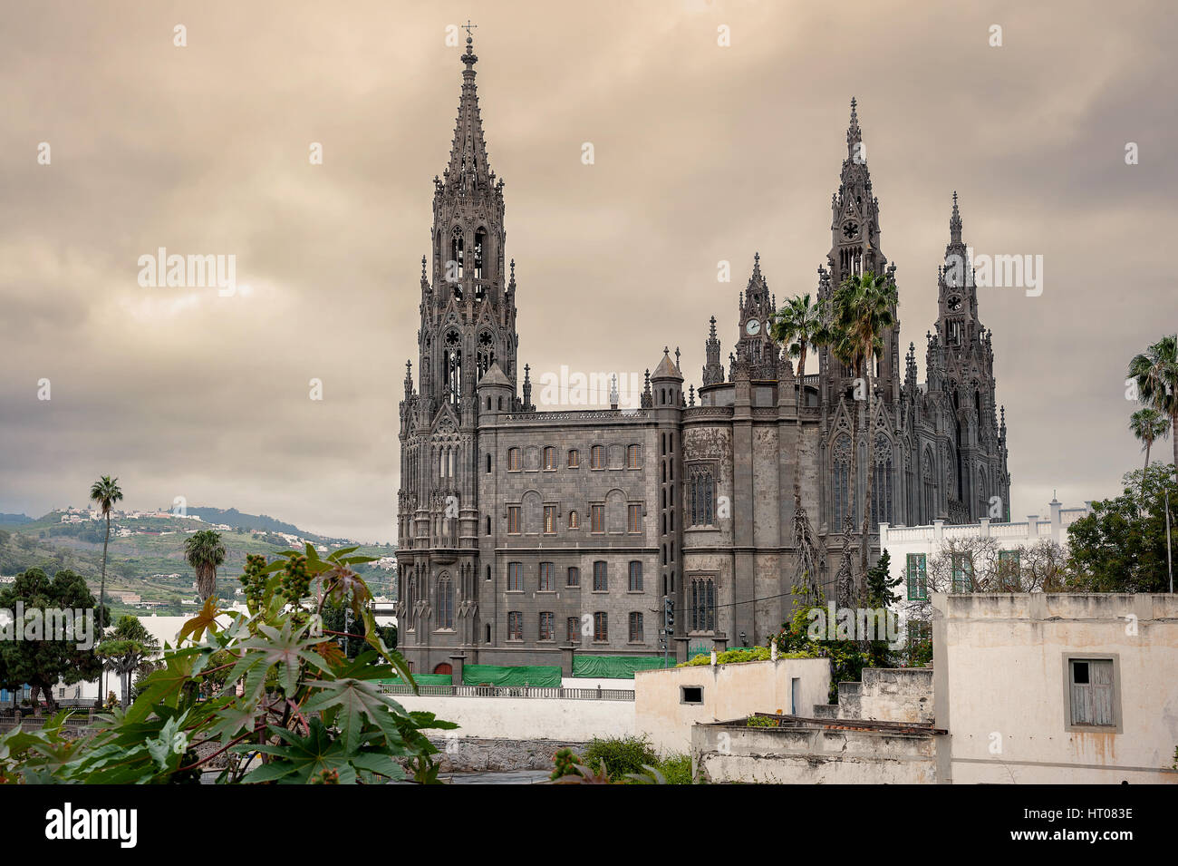 View of medieval gothic cathedral of San Juan Bautista in Arucas, Gran Canaria, Spain Stock Photo