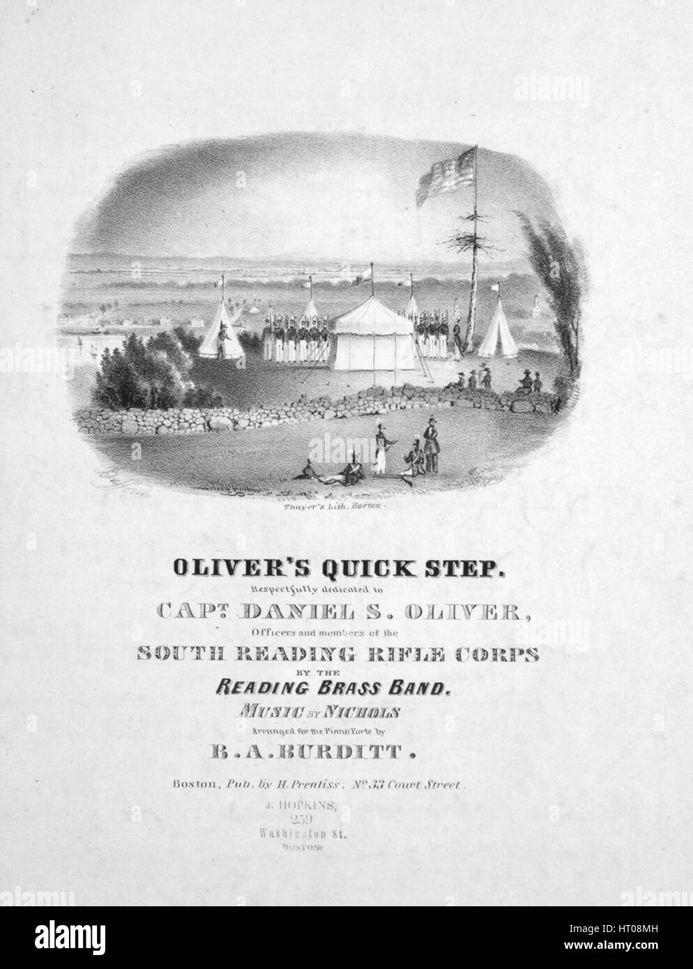 Sheet music cover image of the song 'Oliver's Quick Step', with original authorship notes reading 'Music - Stock Image