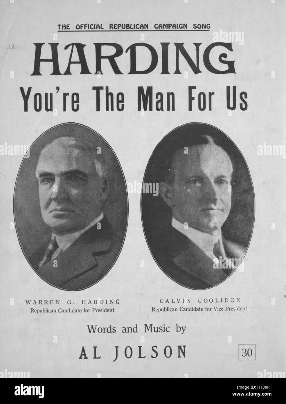 Sheet music cover image of the song 'Harding You're the Man for Us The Official Republican Campaign Song', - Stock Image