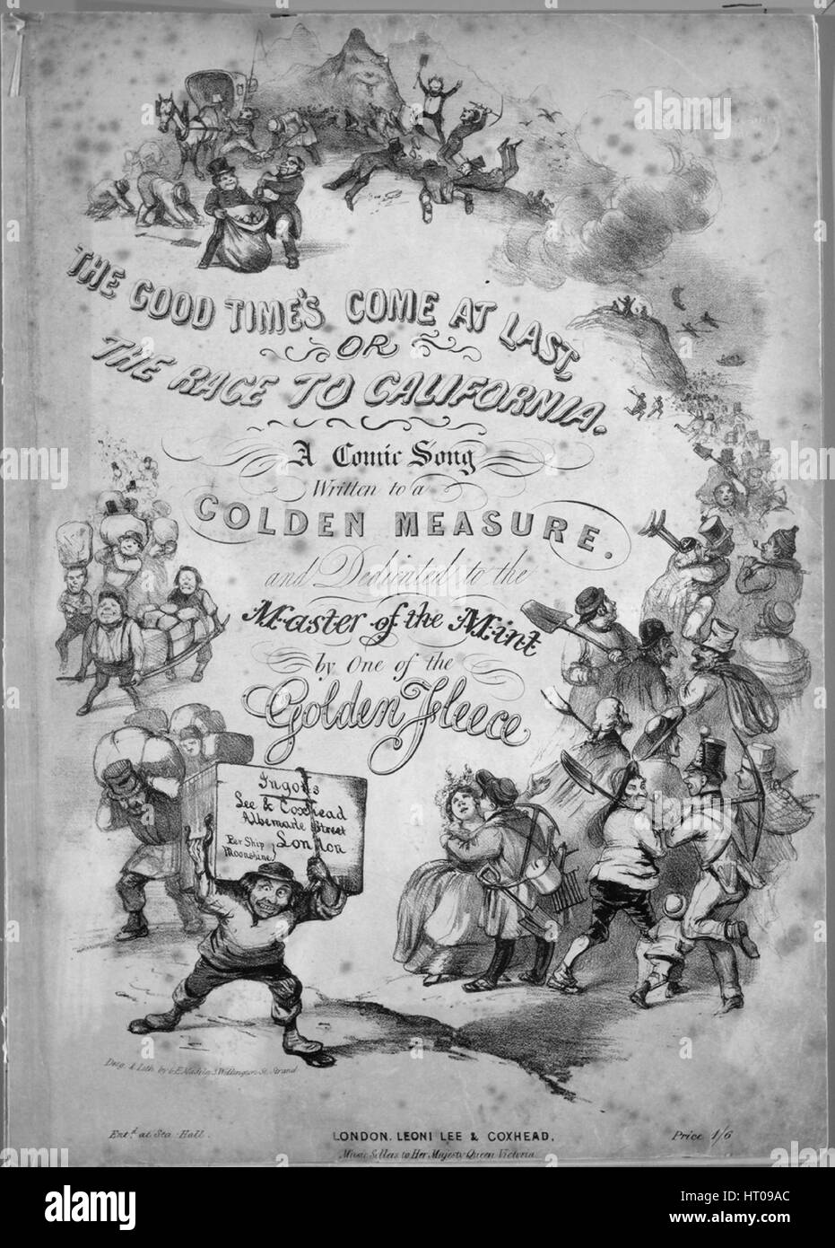 Sheet music cover image of the song 'The Good Time's Come at Last, or, The Race To California A Comic Song', with Stock Photo