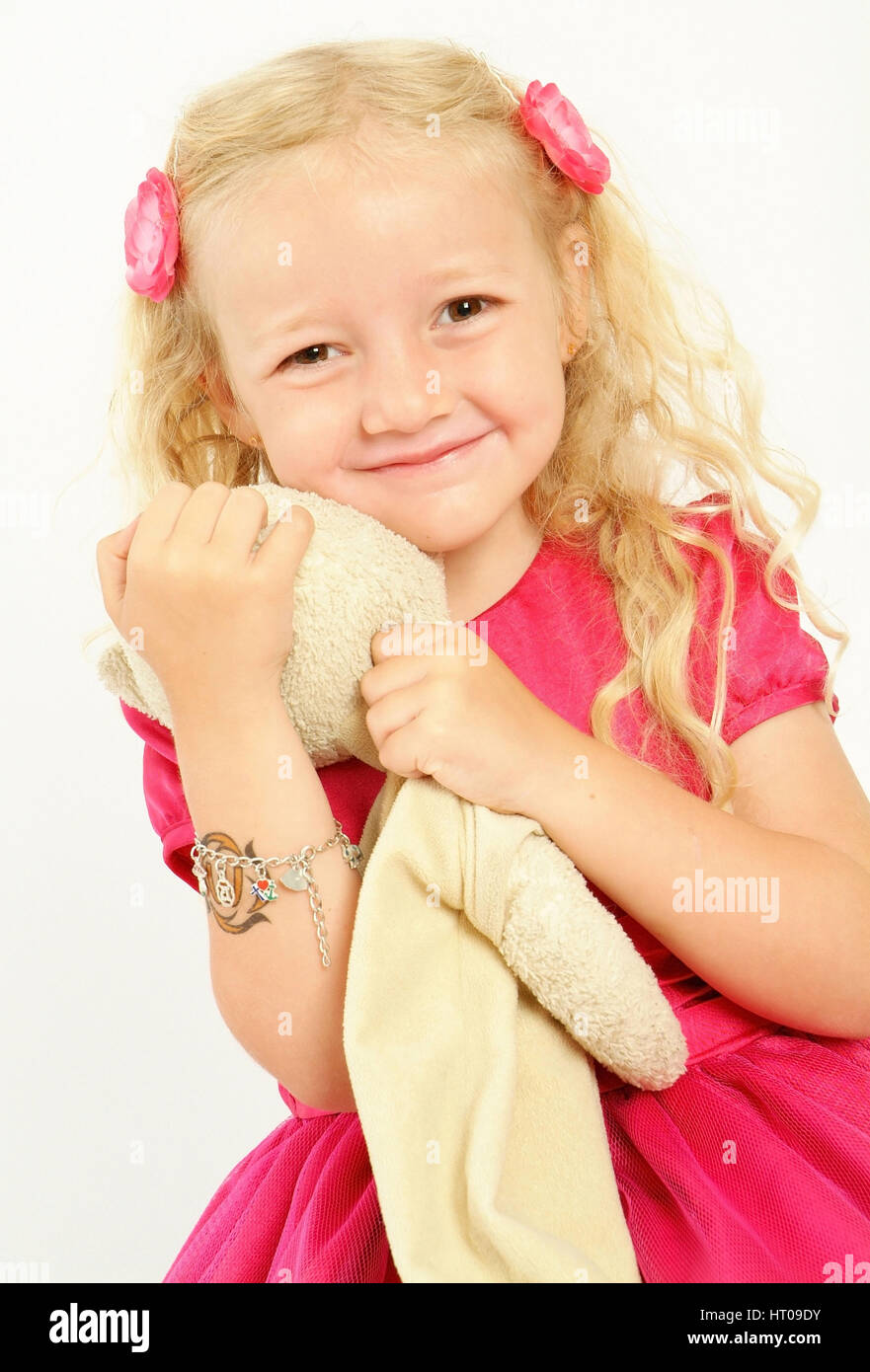 Maedchen, 5 Jahre, mit Stofftier - girl, 5 years old, with toy Stock Photo