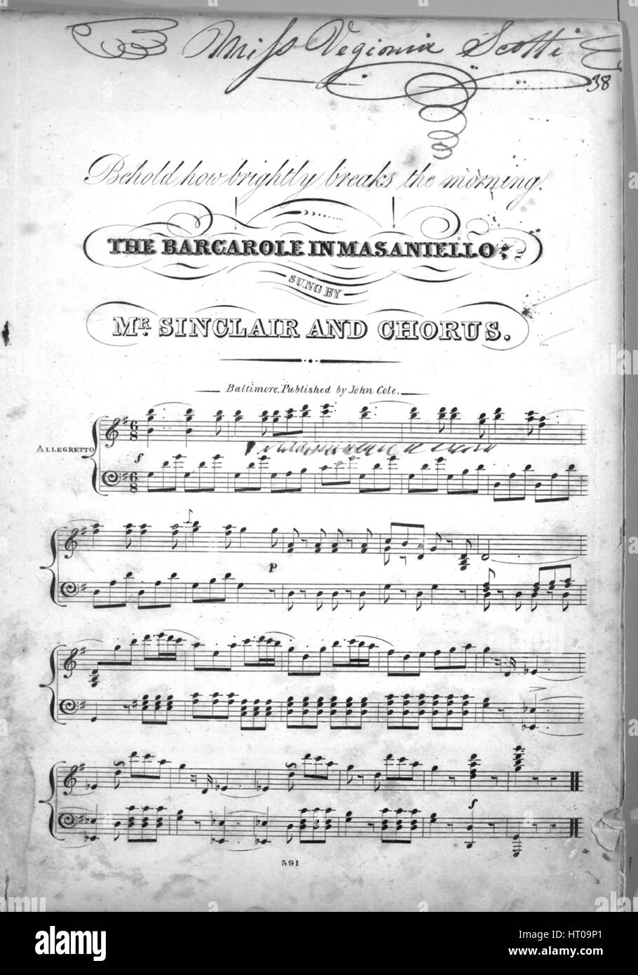 Sheet music cover image of the song 'Behold how brightly break the morning The Barcarole in Masaniello', - Stock Image
