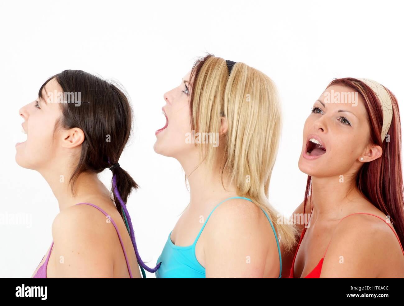 schreiende Frauen - screaming women Stock Photo