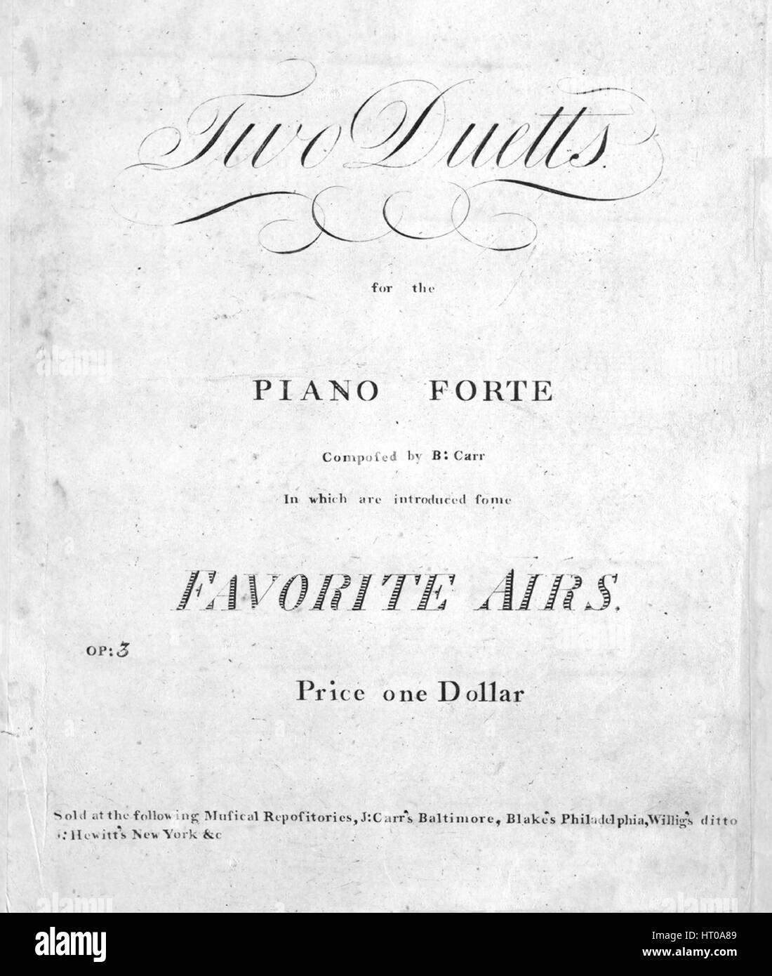 Sheet music cover image of the song 'Two Duetts for the Piano Forte', with original authorship notes reading - Stock Image