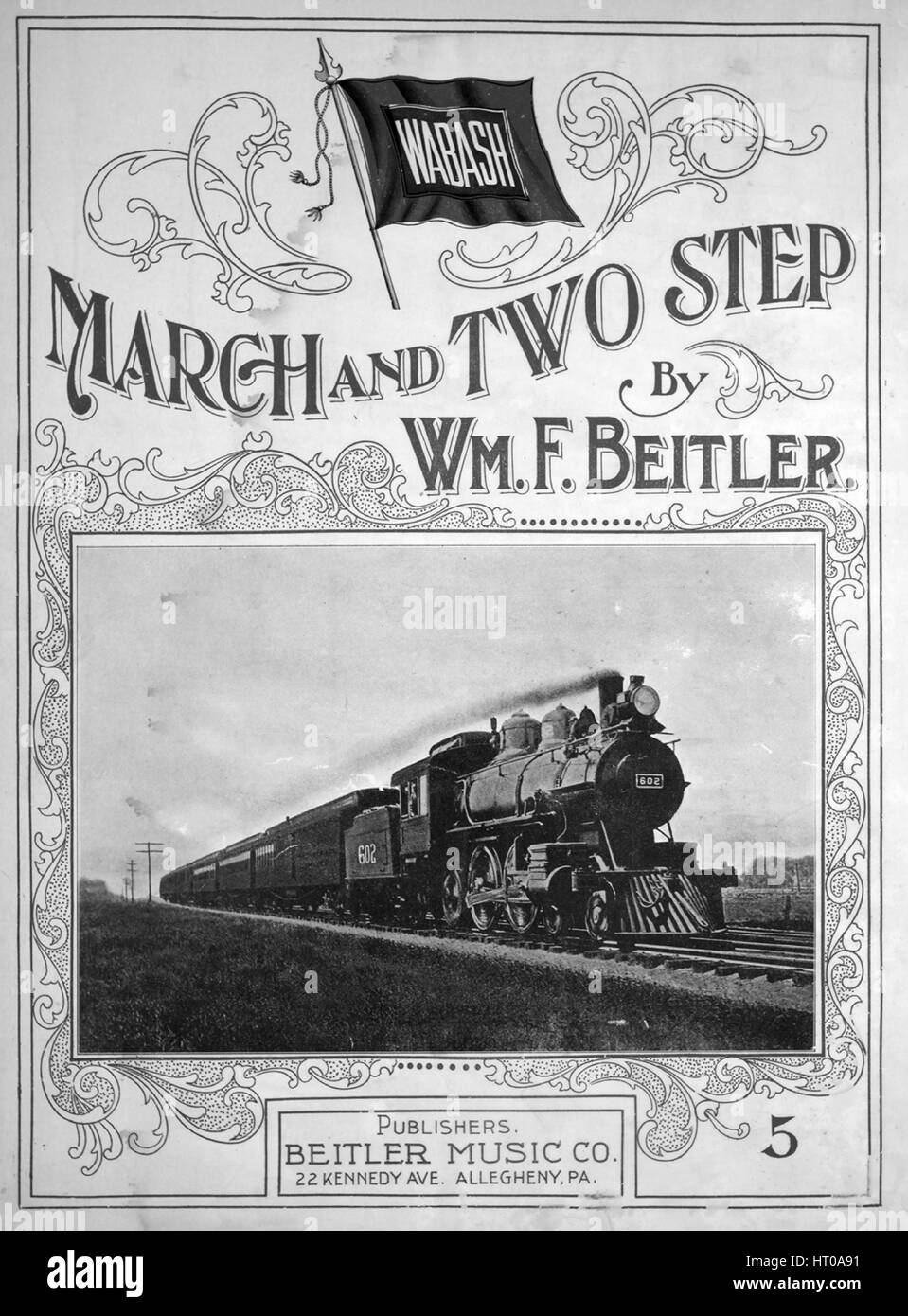Sheet music cover image of the song 'Wabash March and Two Step', with original authorship notes reading - Stock Image