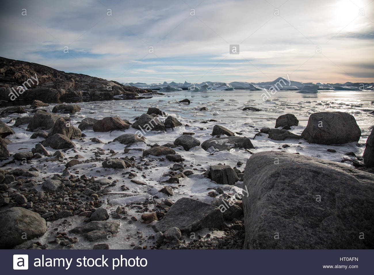 Greenland Ice fjord Beach Nearing Twighlight - Stock Image