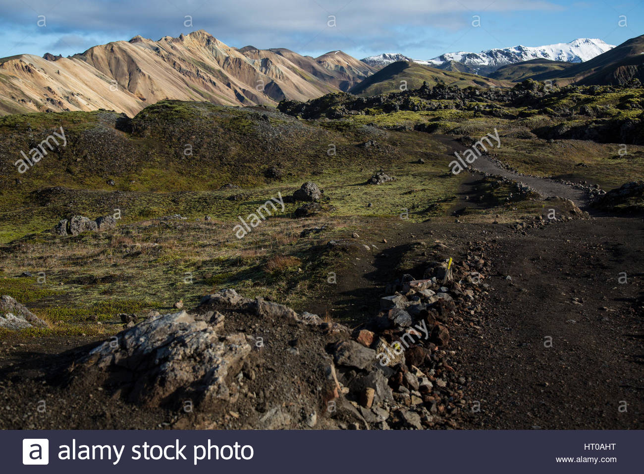 Iceland Highlands Snow Mountains and Moss - Stock Image