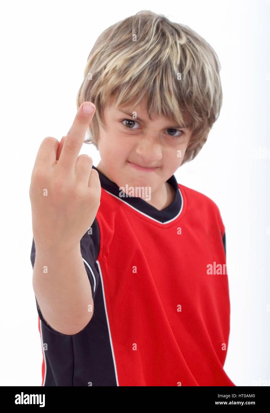 Junge zeigt den Stinkefinger - boy gives the finger Stock Photo