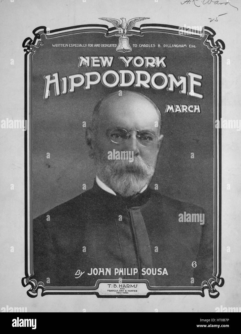 Sheet music cover image of the song 'New York Hippodrome March', with original authorship notes reading - Stock Image
