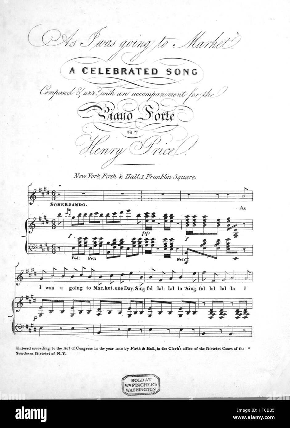 sheet music cover image of the song as i was going to market a celebrated song with original authorship notes reading composed and arrd with an