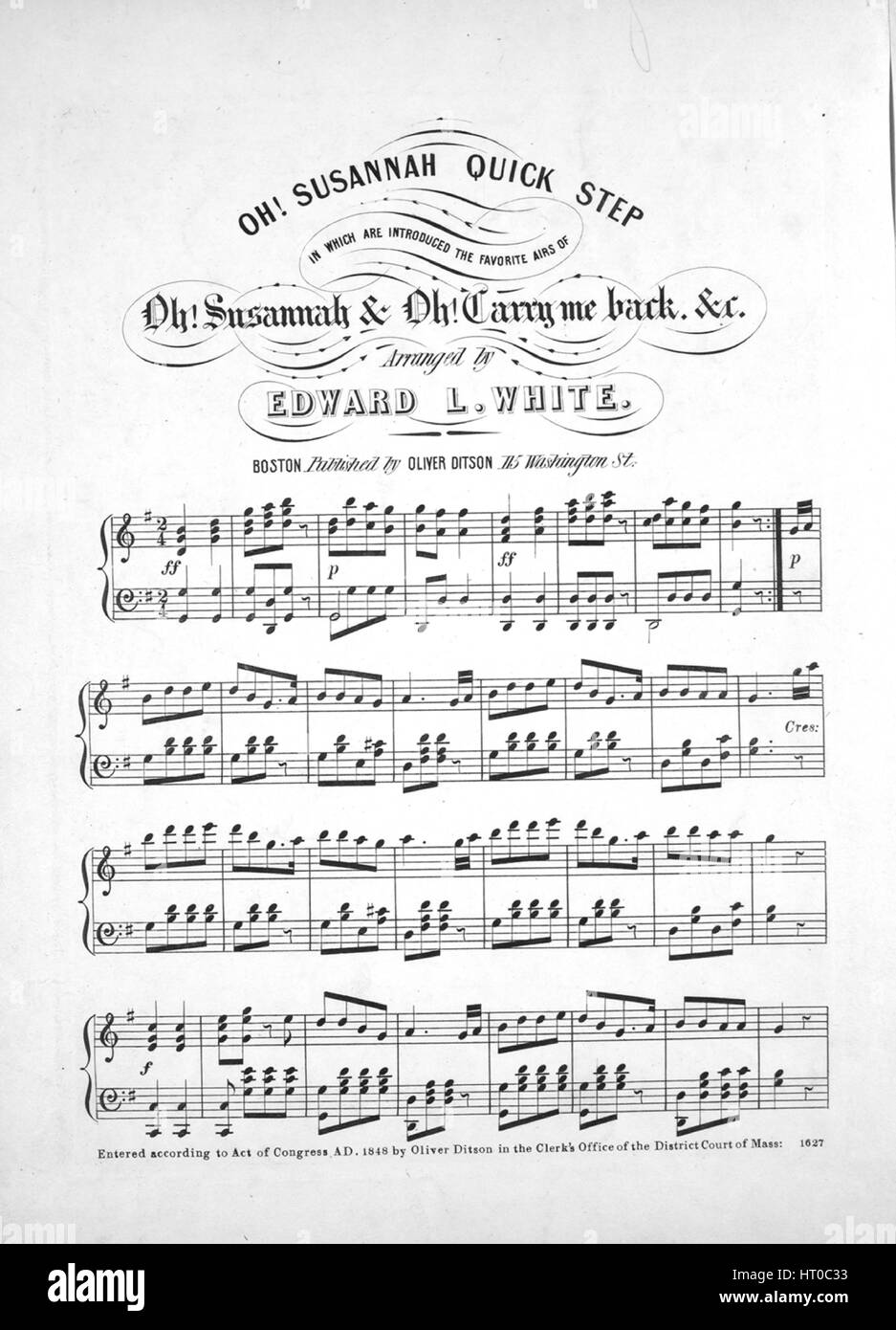 Sheet music cover image of the song 'Oh! Susanna Quick Step, in which are introduced the Favorite Airs of Oh! - Stock Image