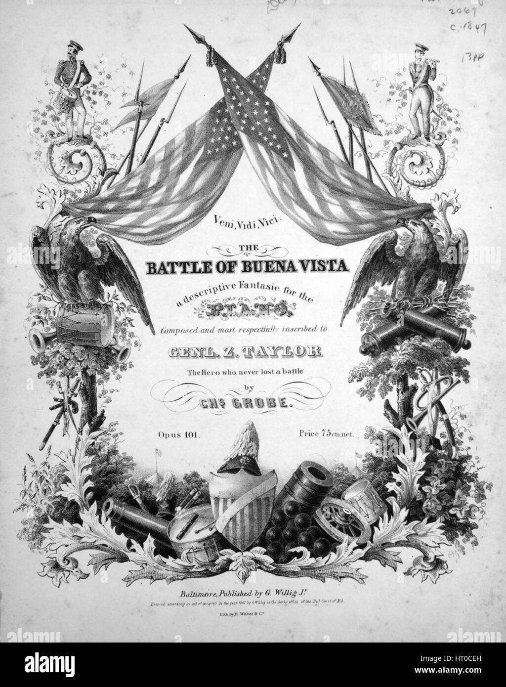 Sheet music cover image of the song 'Veni, Vidi, Vici The Battle of Buena Vista A Descriptive Fantasie for the - Stock Image