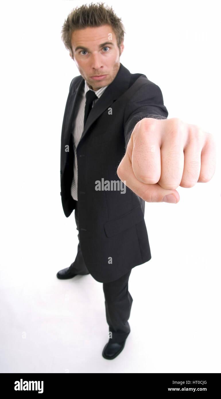 Junger Gesch‰ftsmann mit geballter Faust - business man makes a fist Stock Photo