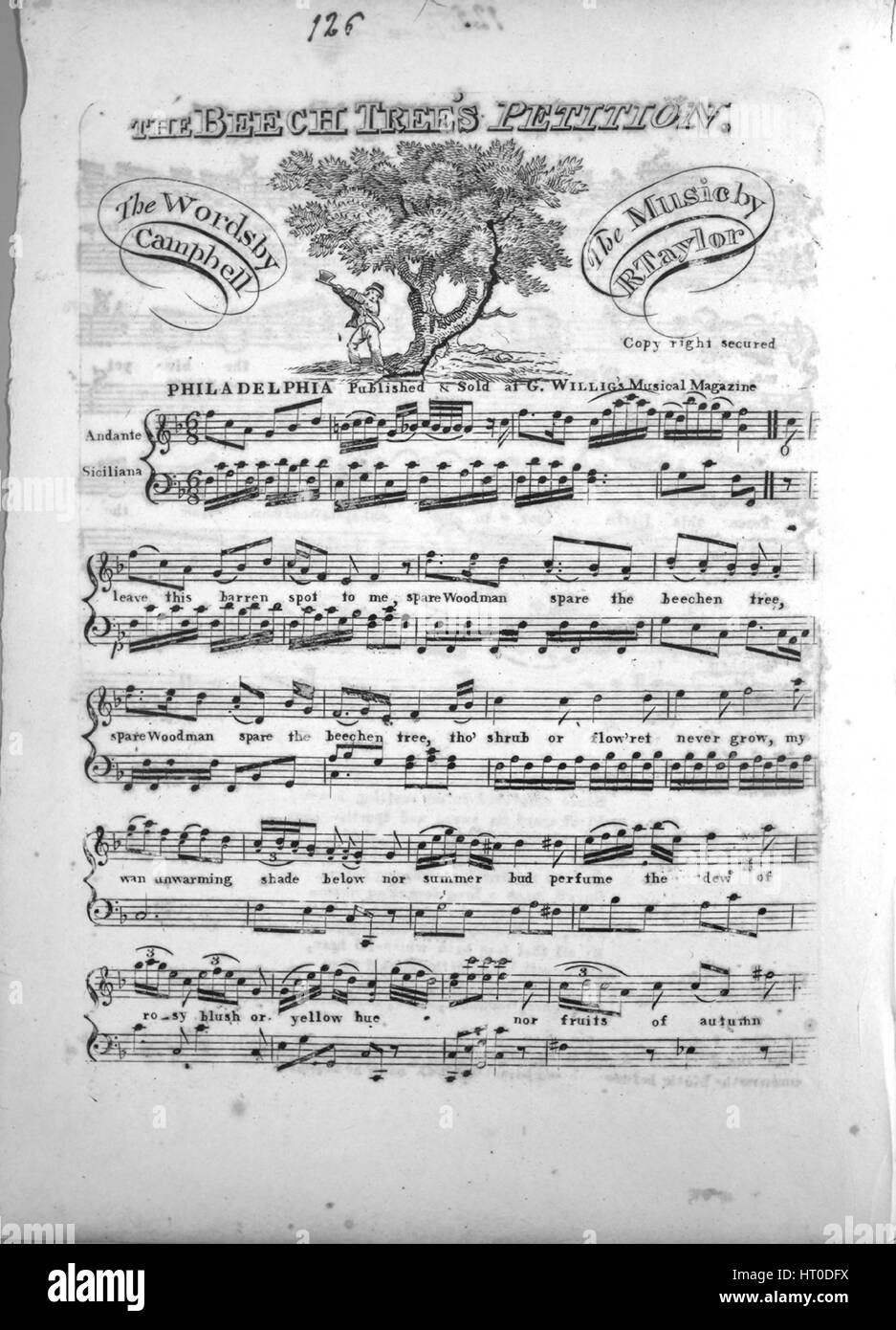 Sheet music cover image of the song 'The Beech Tree's Petition', with original authorship notes reading - Stock Image