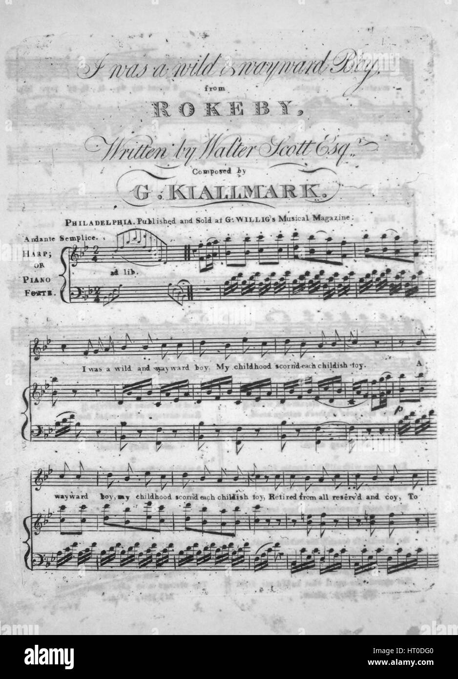 Sheet music cover image of the song 'It Wsa a Wild and Wayward Boy, from Rokeby', with original authorship - Stock Image