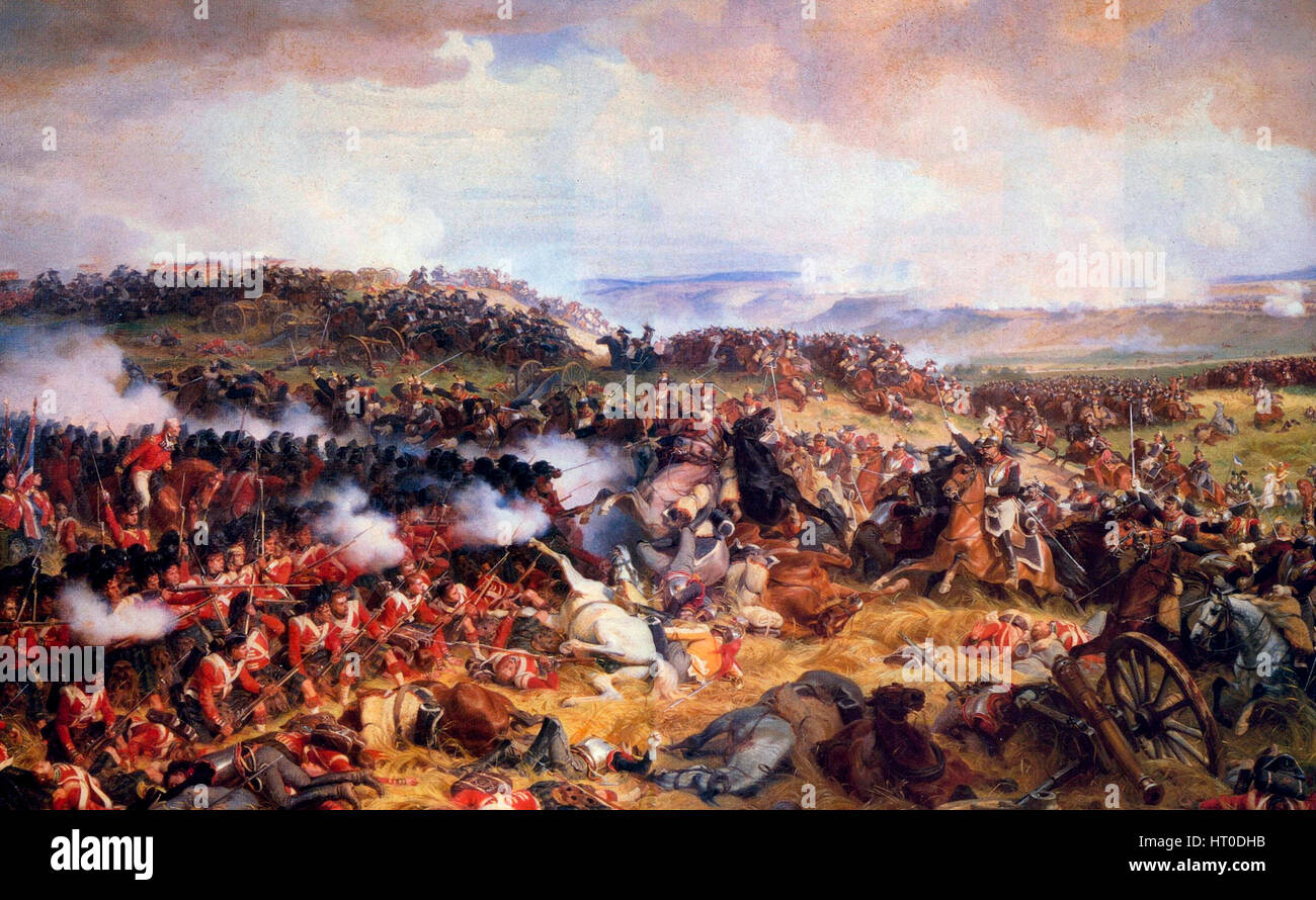 Charge of the French Cuirassiers at Waterloo - Henri Félix Emmanuel Philippoteaux, 1874. Depicting French Cuirassiers - Stock Image