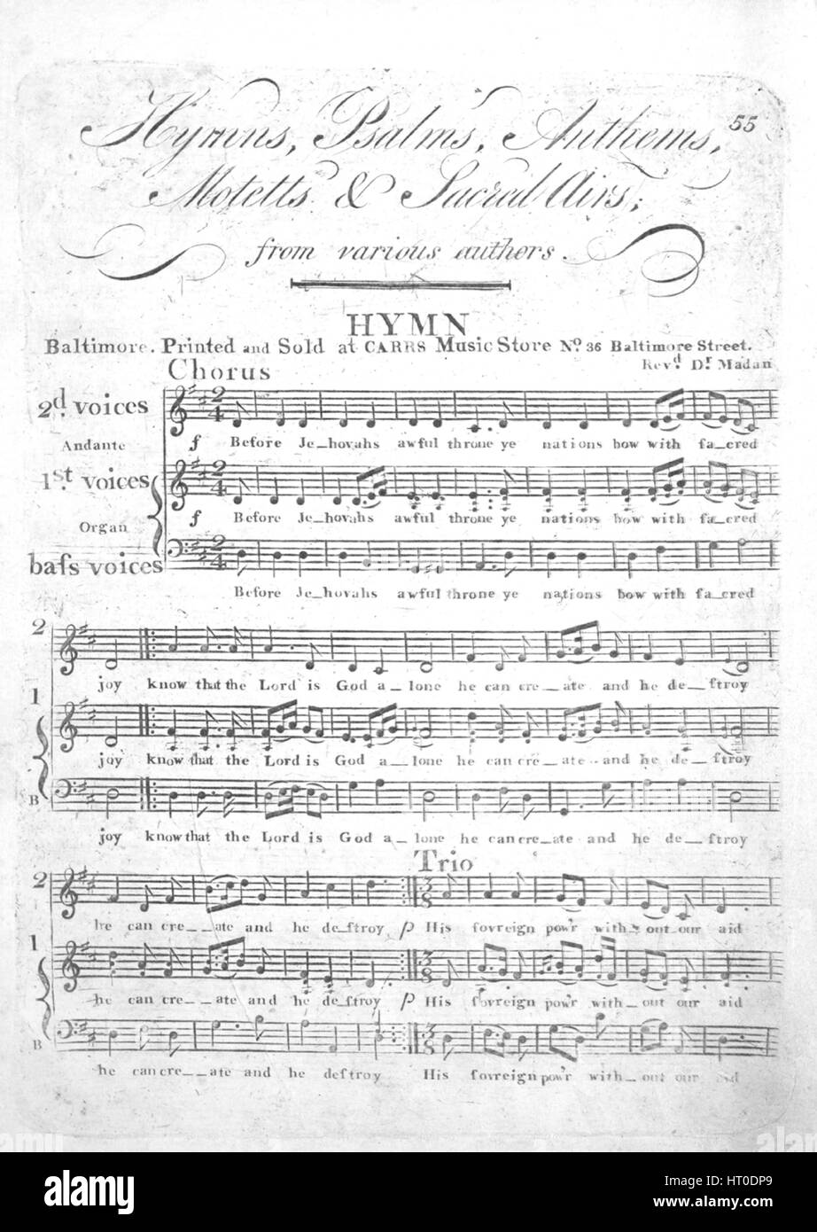 Sheet music cover image of the song 'Hymns, Psalms, Anthems, Motetts and Sacred Airs from various authors Hymn', - Stock Image