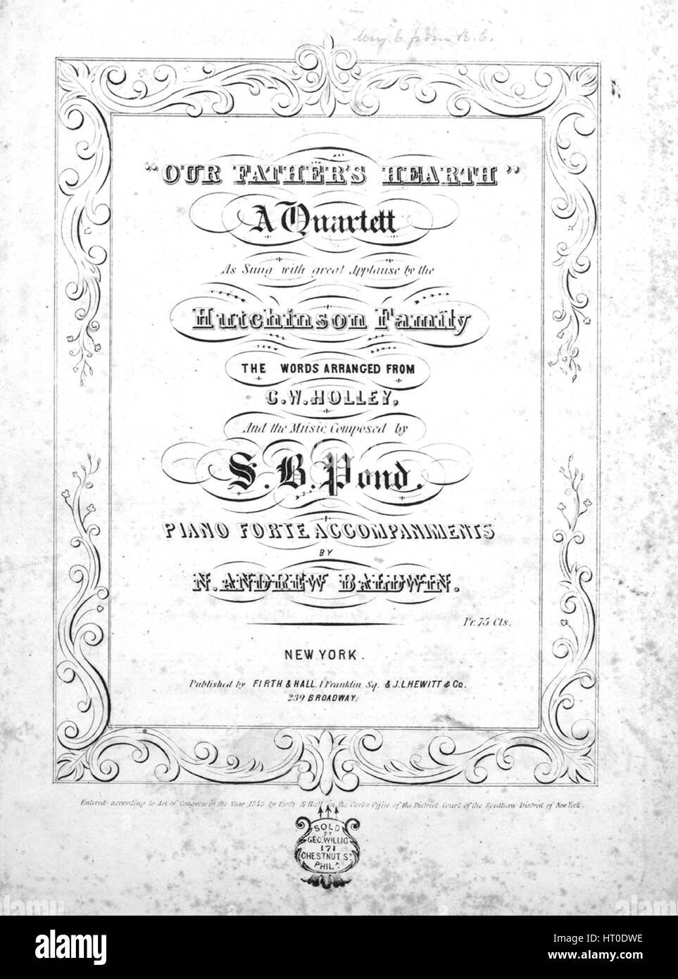 sheet music cover image of the song our father s hearth a
