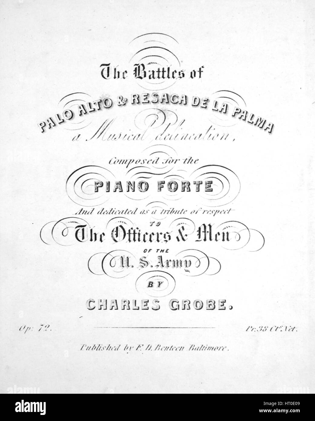 Sheet music cover image of the song 'The Battles of Palo Alto and Resaca de la Palma A Musical Delineation', - Stock Image