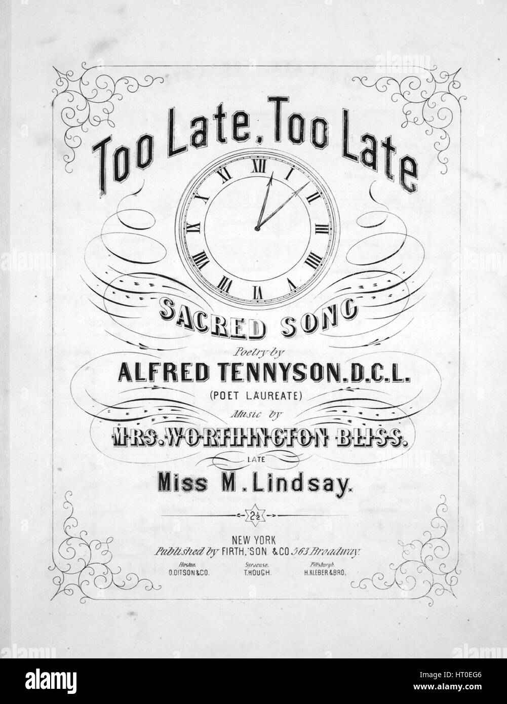 Sheet music cover image of the song 'Too Late, Too Late Sacred Song', with original authorship notes reading - Stock Image